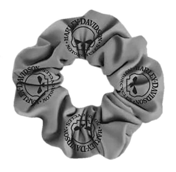 Harley-Davidson Women's Willie G Skull Cotton Hair Scrunchie - Gray HS119954 - Wisconsin Harley-Davidson