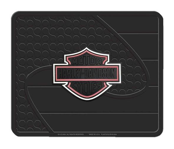 Harley-Davidson Factory Pink Bar & Shield Logo Rubber Utility Mat - Black 1073P - Wisconsin Harley-Davidson