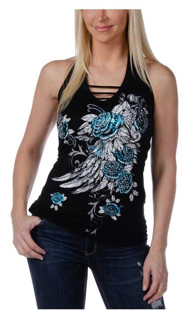 Liberty Wear Women's Embellished Blossomed Roses Elegance Halter Top - Black - Wisconsin Harley-Davidson