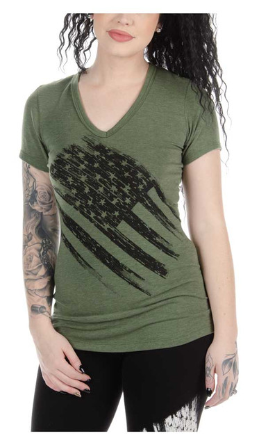 Liberty Wear Women's Distressed Flag V-Neck Casual Short Sleeve Tee - Army Green - Wisconsin Harley-Davidson