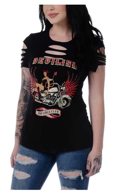 Liberty Wear Women's Devilish Vixen Embellished Short Sleeve Tee - Black - Wisconsin Harley-Davidson
