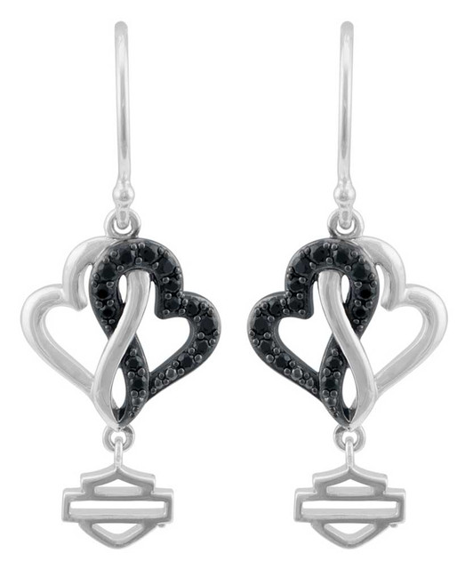 Harley-Davidson Women's Black & White Infinity Hearts Earrings, Sterling Silver - Wisconsin Harley-Davidson