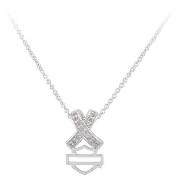 Harley-Davidson Women's Criss Cross Crystal B&S Necklace, Sterling Silver - Wisconsin Harley-Davidson
