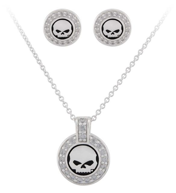 Harley-Davidson Women's Crystal Willie G Skull Necklace & Post Earrings Gift Set - Wisconsin Harley-Davidson