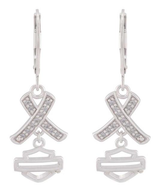 Harley-Davidson Women's Criss Cross Crystal B&S Drop Earrings, Sterling Silver - Wisconsin Harley-Davidson