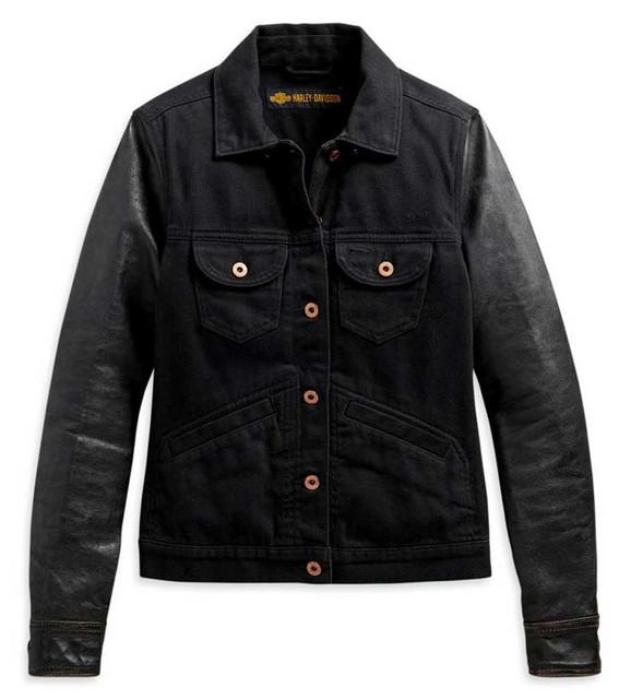 Harley-Davidson Women's Logo Leather Sleeves Denim Jean Jacket, Black 98411-20VW - Wisconsin Harley-Davidson