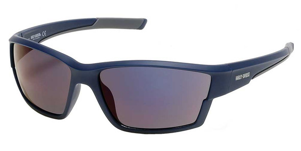 Harley-Davidson Mens Narrow Sport Wrap Sunglasses, Blue Frame/Blue Mirror Lenses - Wisconsin Harley-Davidson