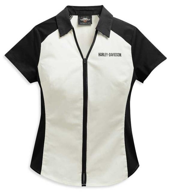 Harley-Davidson Womens Colorblocked Bar & Shield Logo Zip Front Shirt 96136-21VW - Wisconsin Harley-Davidson