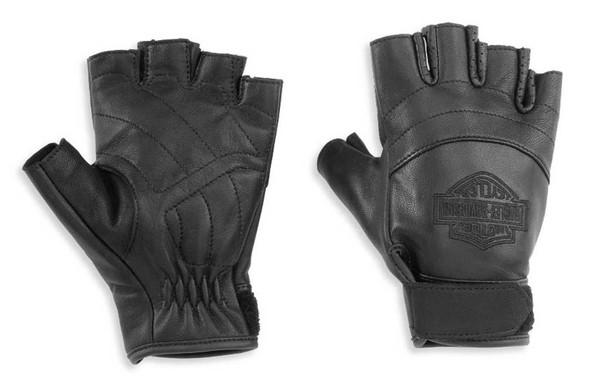 Harley-Davidson Women's Bar & Shield Fingerless Leather Gloves, Black 98170-21VW - Wisconsin Harley-Davidson