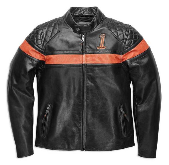 Harley-Davidson Men's Victory Sweep Vintage Leather Jacket, Black 98012-21VM - Wisconsin Harley-Davidson