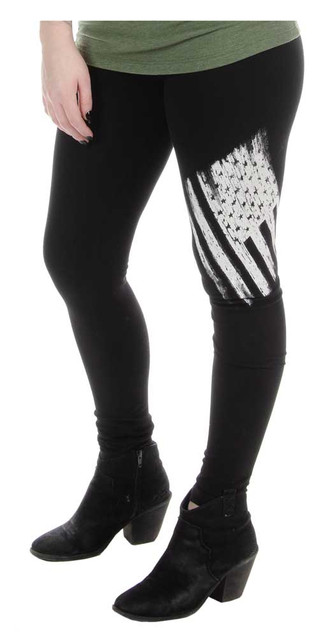 Liberty Wear Women's Justice American Flag Mid-Rise Stretch Leggings - Black - Wisconsin Harley-Davidson