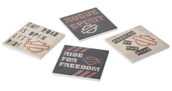Harley-Davidson Let's Ride Ceramic Coaster Set w/ Cork Bottoms - Set of 4 - Wisconsin Harley-Davidson