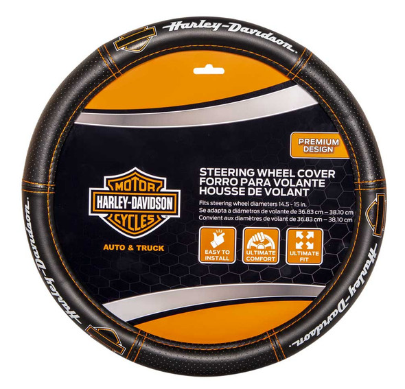 Harley-Davidson Deluxe B&S Steering Wheel Cover w/ Contrast Stitching, Black - Wisconsin Harley-Davidson