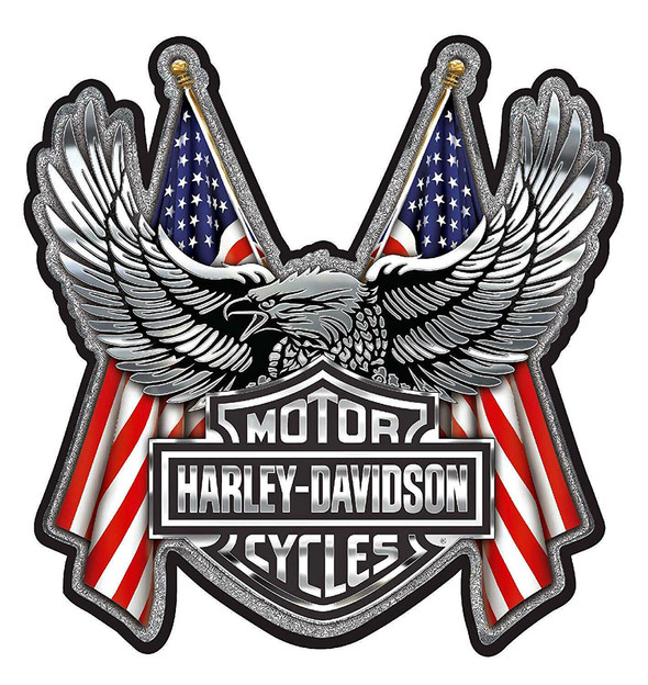 Harley-Davidson Embossed Bar & Shield Eagle Flag Chrome Decal - 6 x 8 in. - Wisconsin Harley-Davidson