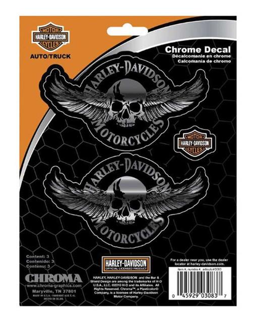 Harley-Davidson Embossed Winged Skulls Chrome Decals - 3 Pack - 6 x 8 in. - Wisconsin Harley-Davidson