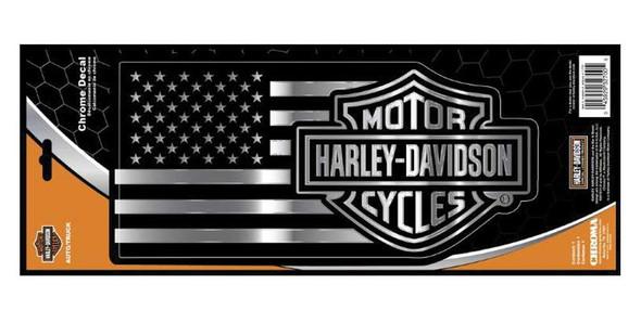 Harley-Davidson Embossed Bar & Shield American Flag Chrome Decal - 11.25 x 5.25 in. - Wisconsin Harley-Davidson