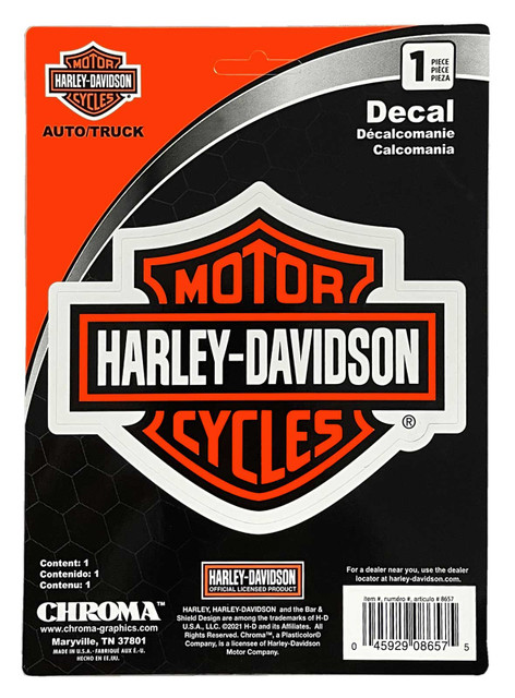 Harley-Davidson Bar & Shield Logo Vinyl Decal - Orange & Black - 6 x 8 in. - Wisconsin Harley-Davidson