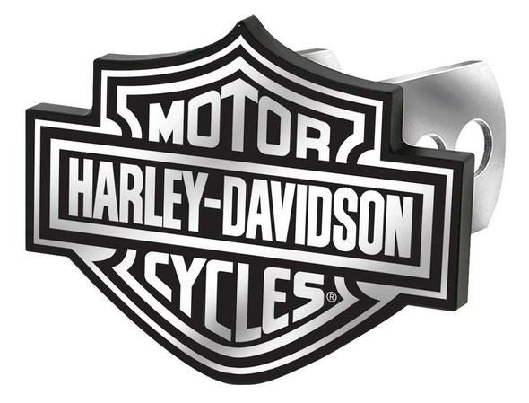 Harley-Davidson Bar & Shield Logo Hitch Plug, Universal Fit - Black & White - Wisconsin Harley-Davidson