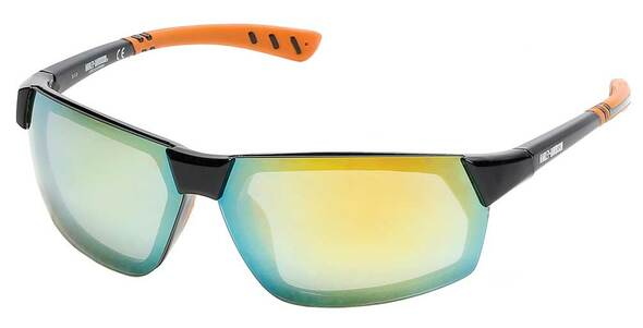 Harley-Davidson Men's Geometric Metal Sunglasses, Black Frame/Mirror Lenses - Wisconsin Harley-Davidson