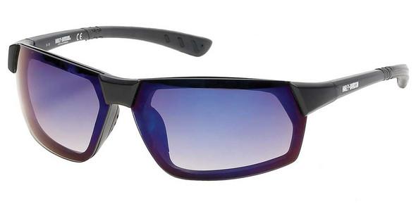 Harley-Davidson Men's Geometric Metal Sunglasses, Black Frame/Blue Mirror Lenses - Wisconsin Harley-Davidson