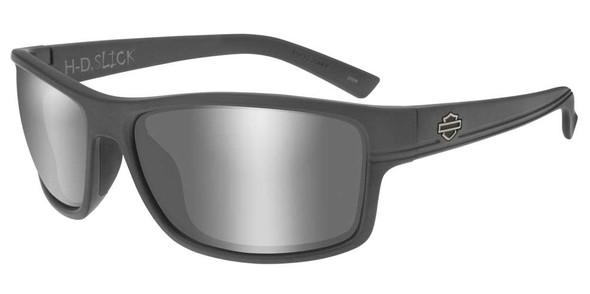 Harley-Davidson Mens Slick Sunglasses, Silver Flash Lens & Matte Graphite Frames - Wisconsin Harley-Davidson