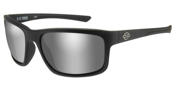 Harley-Davidson Men's Twin Sunglasses, Silver Flash Lenses & Matte Black Frames - Wisconsin Harley-Davidson