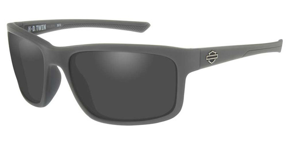 Harley-Davidson Men's Twin Sunglasses, Smoke Gray Lenses & Matte Gray Frames - Wisconsin Harley-Davidson