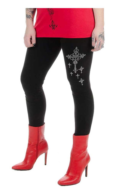 Liberty Wear Women's Cross My Heart Bling Mid-Rise Stretch Leggings - Black - Wisconsin Harley-Davidson