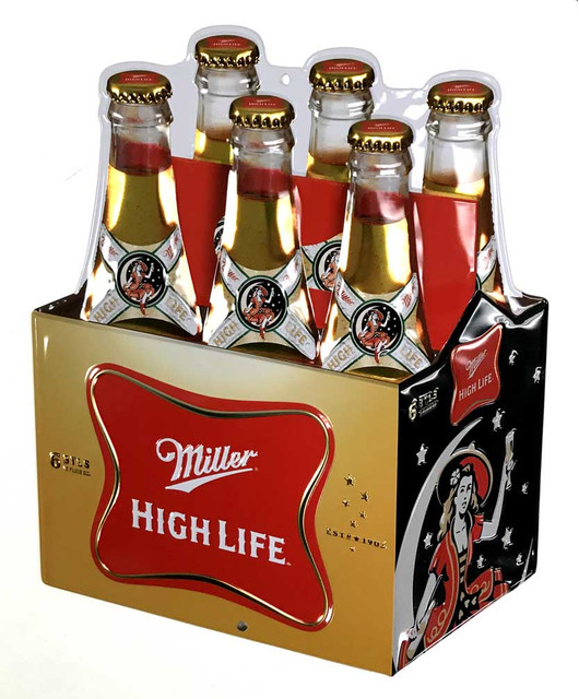 Ande Rooney Embossed Miller High Life Die-Cut Carton Tin Sign - 11.5 x 15 in. - Wisconsin Harley-Davidson