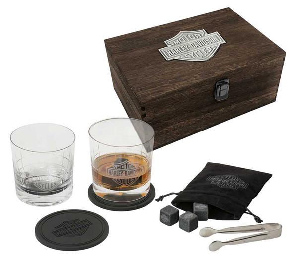 Harley-Davidson Bar & Shield Logo Premium Whiskey Glass Wooden Box Gift Set - Wisconsin Harley-Davidson