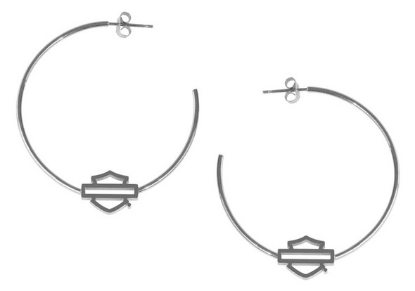 Harley-Davidson Women's Medium Bar & Shield Logo Hoop Earrings - Stainless Steel - Wisconsin Harley-Davidson