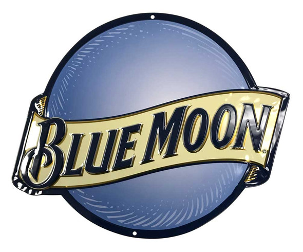 Ande Rooney Embossed Blue Moon Die-Cut Beer Tin Sign - 16 x 14.375 inches - Wisconsin Harley-Davidson