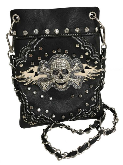 That's A Wrap Women's Stud Winged Skull & Crossbones Hip Bag w/Strap HB3319-BLK - Wisconsin Harley-Davidson