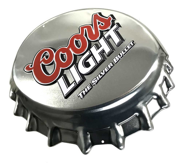 Ande Rooney Coors Light Embossed Bottle Cap Tin Sign - Silver, 18 x 15.5 inches - Wisconsin Harley-Davidson