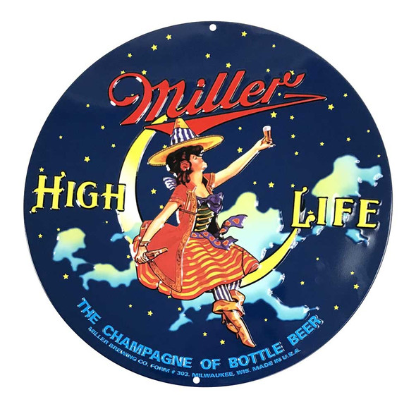 Ande Rooney Embossed Miller High Life Beer Round Bar Tin Sign - 14 inch. - Wisconsin Harley-Davidson