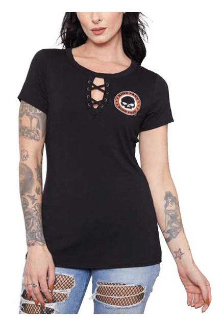 Harley-Davidson Women's Rhinestone Willie G Skull Laced Short Sleeve Tee, Black - Wisconsin Harley-Davidson