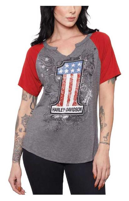 Harley-Davidson Women's #1 Embellished Short Sleeve Raglan T-Shirt, Gray & Red - Wisconsin Harley-Davidson