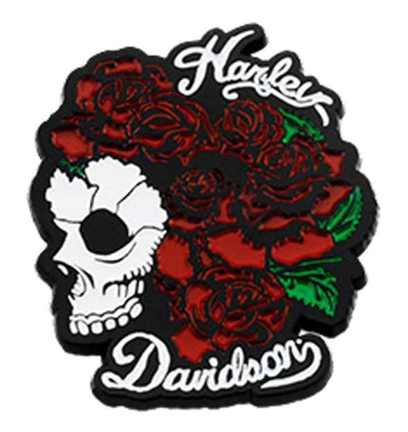 Harley-Davidson 1.5 in. Engraved Skull & Roses Metal Pin, Gloss Black Finish - Wisconsin Harley-Davidson