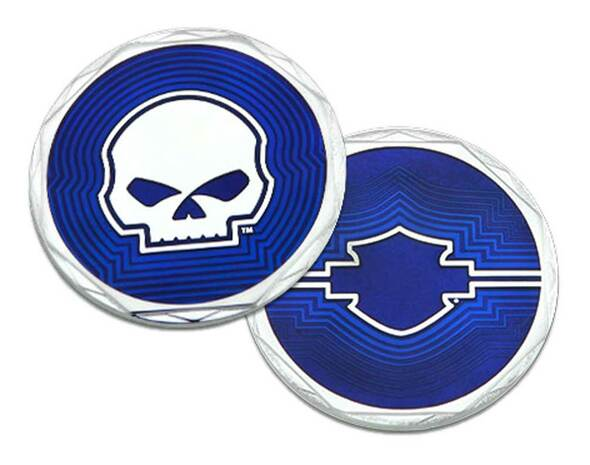Harley-Davidson Blue Retro Bar & Shield Logo Metal Challenge Coin, 1.75 in. - Wisconsin Harley-Davidson