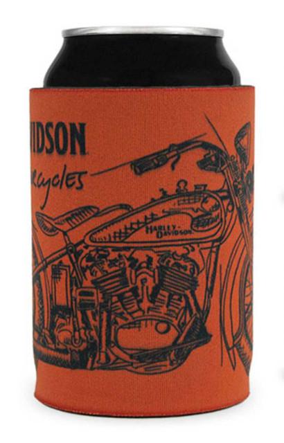 Harley-Davidson Timeline Motorcycle Firm Bottom Neoprene Can Wrap - Burnt Orange - Wisconsin Harley-Davidson