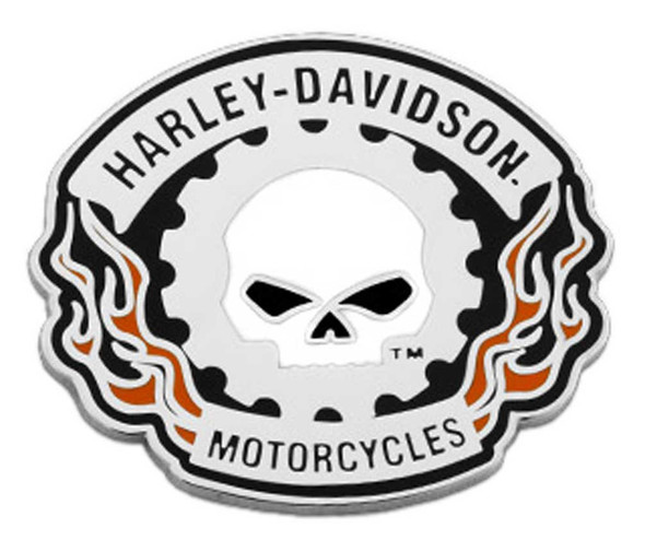 Harley-Davidson 1.5 in. Sprocket Willie G Skull Metal Pin, Silver Nickel Finish - Wisconsin Harley-Davidson