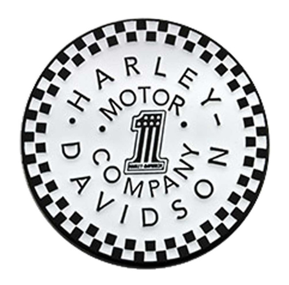 Harley-Davidson 1.5 inch. #1 Checkered Motor Metal Pin, Gloss White Finish - Wisconsin Harley-Davidson