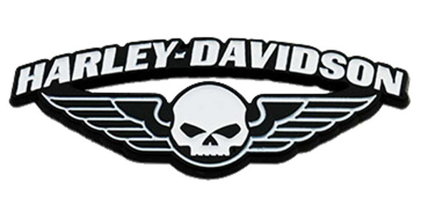 Harley-Davidson 1.75 in. Winged Skull Metal Pin, Black & White Finishes - Wisconsin Harley-Davidson