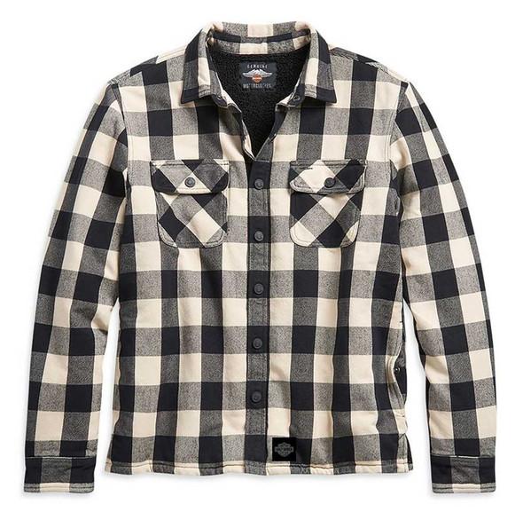 Harley-Davidson Men's Sherpa Lined Buffalo Plaid Shirt Jacket, White 96260-21VM - Wisconsin Harley-Davidson