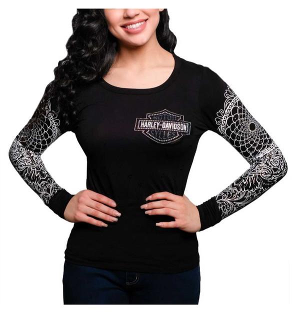 Harley-Davidson Women's Native Embellished Long Sleeve Scoop Neck Top, Black - Wisconsin Harley-Davidson
