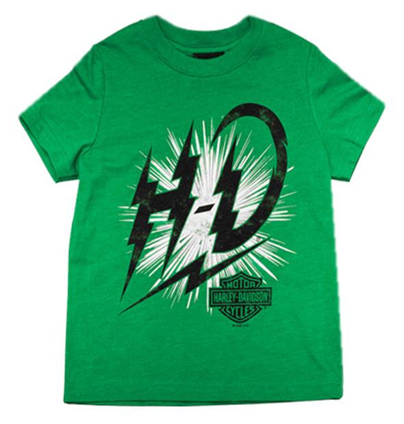 Harley-Davidson Boy's Shocks Short Sleeve Poly T-Shirt, Toddler & Youth, Green - Wisconsin Harley-Davidson