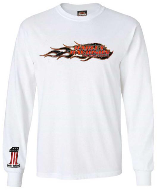 Harley-Davidson Men's Inflame H-D Long Sleeve Crew-Neck Cotton T-Shirt, White - Wisconsin Harley-Davidson