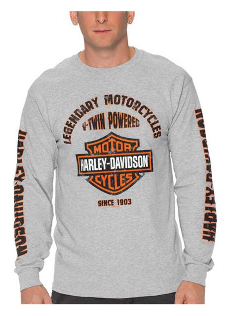 Harley-Davidson Men's Simple Distress Long Sleeve Crew-Neck Cotton T-Shirt, Gray - Wisconsin Harley-Davidson