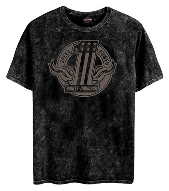 Harley-Davidson Men's Number One Short Sleeve Cotton T-Shirt - Black Marble - Wisconsin Harley-Davidson
