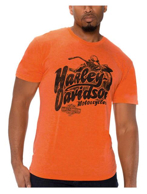 Harley-Davidson Men's Excursion Tri-Blend Short Sleeve T-Shirt, Bright Orange - Wisconsin Harley-Davidson
